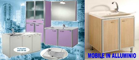 mobile da bagno in alluminio